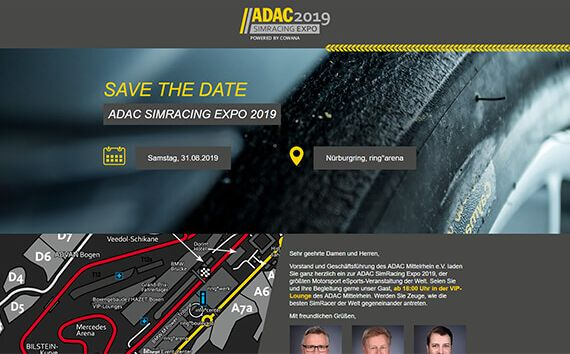 Eventwebsite ADAC Simracing Expo